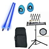 Band Directors Choice Educational Bell Kit Pack Deluxe w/Carry Bag, Drum Practice Pad, Blue Light Up Drumsticks & BONUS Blue Rhythm Percussion Shakers