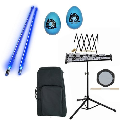 Band Directors Choice Educational Bell Kit Pack Deluxe w/Carry Bag, Drum Practice Pad, Blue Light Up Drumsticks & BONUS Blue Rhythm Percussion Shakers by Bell Kit Educational Packs