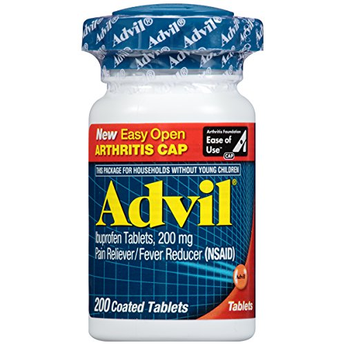 Advil Easy Open Cap (200 Count) Pain Reliever/Fever Reducer Coated Tablet, 200mg Ibuprofen, Temporary Pain (Advil Coated Tablets)