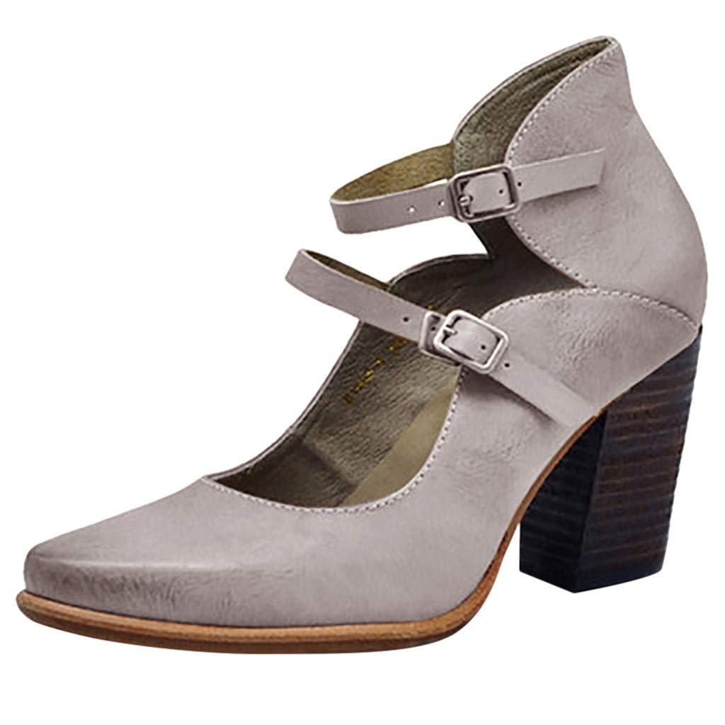 Sonmer Women's Retro Pumps High Heel Strap Buckle Non-Slip Sandals Summer Shoes (Gray, 5 M US)