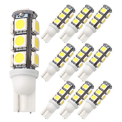 GRV T10 921 194 13-5050 SMD Wedge LED Bulb lamp Super Bright Cool White DC 12V Pack of 10 (Super White Bulb)