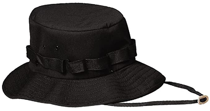 Amazon.com  Black Military Style Wide Brim Bucket Jungle Boonie Hat   Clothing af80175cc30