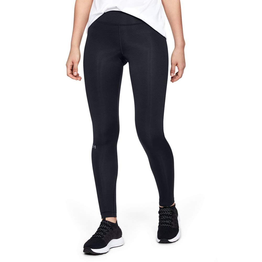 Under Armour Women's ColdGear Authentic Compression Leggings,  Black/Metallic Silver - Large by Under Armour