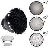"Godox Standard Reflector 7""/ 18cm Diffuser with 20/40/60 Degree Honeycomb Grid for Bowens Mount Studio Light Strobe Flash"