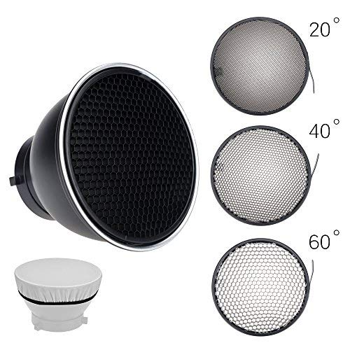 Ultrapure Standard Reflector 7''/ 18cm Diffuser with 20/40/60 Degree Honeycomb Grid for Bowens Mount Studio Light Strobe Flash