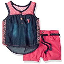 U.S. Polo Assn. Baby Girls Fashion Top and Short Set