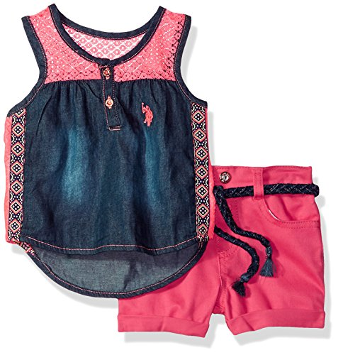 - U.S. Polo Assn. Baby Girls Fashion Top Set, lace Yoke Tank Stretch Twill Short Multi, 18M