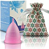 Athena Menstrual Cup - #1 Recommended Period Cup Includes Bonus Bag - Size 1, Transparent Pink - Leak Free Guaranteed and Softer than Diva