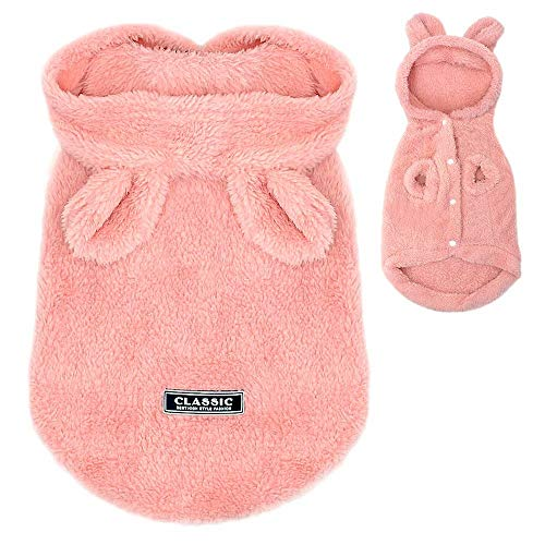 PET ARTIST Winter Warm Small Dog Pajamas Coats for Puppy,Cute Rabbit Design Pet PJS Jumpsuit,Soft Fleece Hoodie Clothes for Chihuahua Yorkie Poodles]()