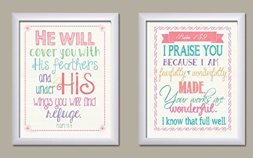 Bible Verse Psalm 91:4 and Psalm 139 Popular Religious Nursery Decor; Two 11x14 White Framed Print. Pink/White/Teal/Purple