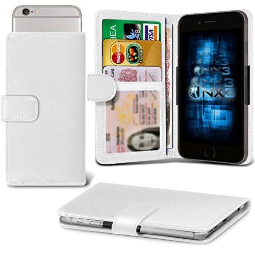 (White) QMobile T200 Bolt Adjustable Spring Wallet ID Card Holder Case Cover ONX3