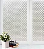 Window Film Non Adhesive Modern Etched Frosted Privacy Privacy Window Film Self Static Cling Vinly Window Film Both Suitable for Home Decorationand or Office (White 35.4 by78.7 Inch)