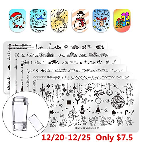 Biutee Nail Stamping Plates 6pcs Templates with Double-head stamper Christmas design Nail Art Plates set ()