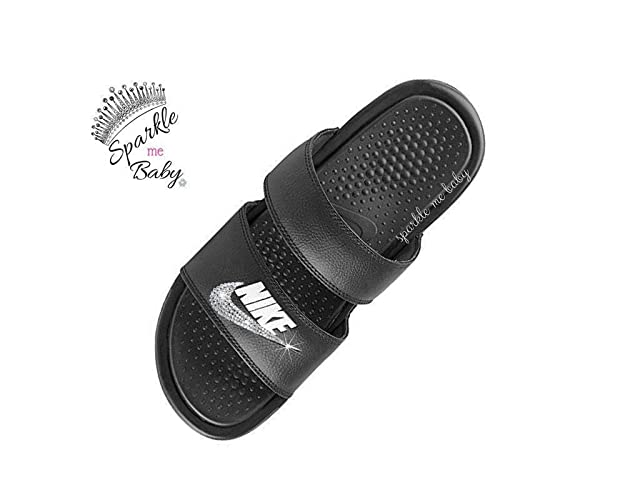 b1fbb2b7d Image Unavailable. Image not available for. Color  Nike Benassi Duo Women s  in Black - Blinged - Swarovski Bedazzled Nike Duo Slides Customized for