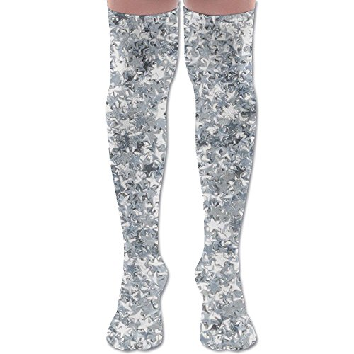 Silver Glitter Star Womens Thigh High Socks Over Knee High Socks Leg Warmer Slim Stockings (Silver Knee High Socks)