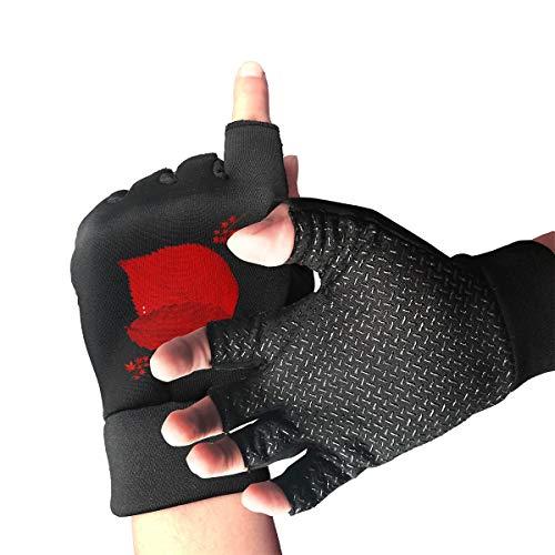 HU MOVR Red Leaf Hunting Gloves Shockproof Half Outdoor Sports Workout Short Glove for Men Women