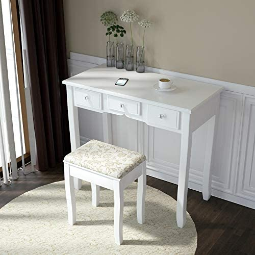 Allewie White Vanity Desk with Cushioned Stool Dressing Table Vanity Makeup Table with Mirror, 5 Sliding Drawers, Removable Makeup Organizer