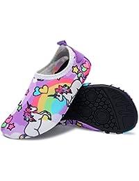 Kids Water Shoes Swim Shoes Barefoot Aqua Sock Purple 2.5-3.5=EU 34-35