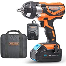 VonHaus 20V MAX Cordless 1/2 Impact Wrench Set High Torque with Variable Speed - Includes 3Ah Lithium-ion Battery, Smart Charger, Belt Hook and Tool Bag