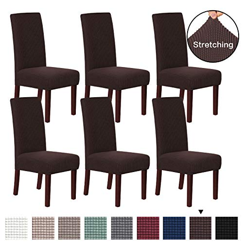 H.VERSAILTEX Dining Chair Cover Protector Lycra Spandex Jacquard Fabric Super Soft Slip Resistant Stylish Furniture Shield/Protector Dining Chair Covers Washable, Set of 6, Chocolate