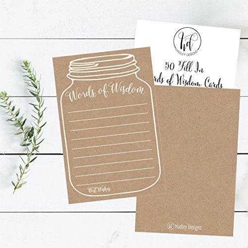 50 Rustic Mason Jar Words of Wisdom Advice Cards, Use As ...