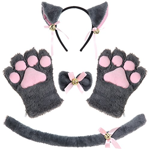 JustinCostume Cat Cosplay Set Ears Tail Collar Paws (Gray)]()