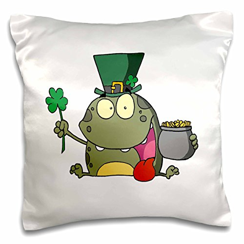 Froggy Pillow - 3dRose St Paddy Patty Day Froggy Frog - Pillow Case, 16 by 16-inch (pc_118834_1)