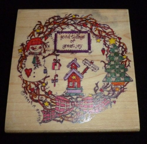 Christmas Good Tidings Wreath Rubber Stamp