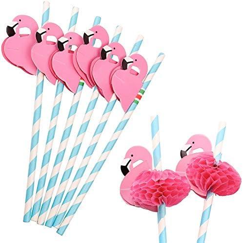 Set of 16 Flamingo Paper Party Straws