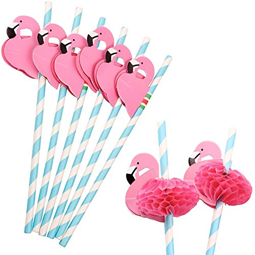 - Flamingo Paper Straw Decorations, 50 PCS Disposable Cocktail Drinking Straws Decorative for Party Table Décor Luau Party by HansGo