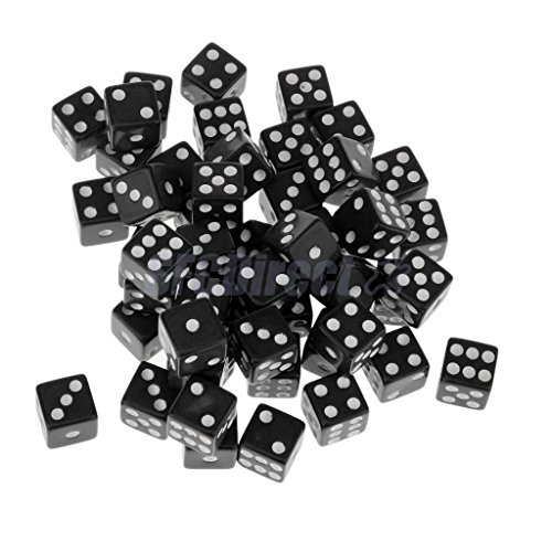 Shalleen 12mm 50Pcs Opaque Six Sided Spot Dice Games D6 RPG Playing Toys Black (Show Me Pictures Of Monster High)