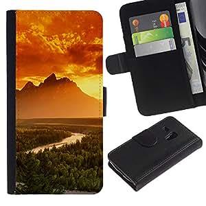 YiPhone /// Tirón de la caja Cartera de cuero con ranuras para tarjetas - Montañas Brillantes - Samsung Galaxy S3 MINI 8190