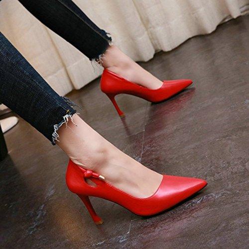 JIANXIN Frauen Dünne Ferse Und Flachen Mund Und Spitzen Fersen Fersen Fersen Frühjahr Ausgehöhlten Sexy Leder Einzelnen Schuhen. (Farbe   rot größe   EU 38 US 7 UK 5 JP 24.5cm) 226ade