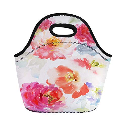 Tinmun Lunch Tote Bag Pink Floral Summer Pattern Watercolor Flowers Bouquet Beauty Bloom Reusable Neoprene Bags Insulated Thermal Picnic Handbag for Women - Bouquet Innocence
