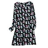 ENJOYNIGHT Women's Cotton Sleepwear Long Sleeves Nightgown Print Tee Sleep Dress (X-Large, Black owl)