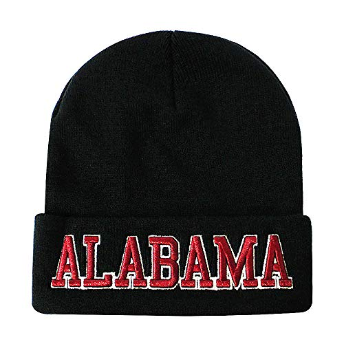 Classic Cuff Beanie Hat - Black Cuffed Football Winter Skully Hat Knit Toque Cap (Alabama)