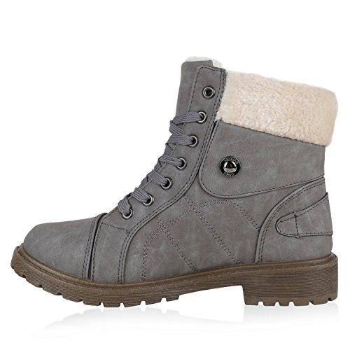 Damen Stiefeletten Outdoor Boots Warm Gefütterte Schnürstiefeletten  Schnürschuhe Lack Zipper Profilsohle Winter Schuhe Flandell Grau ...