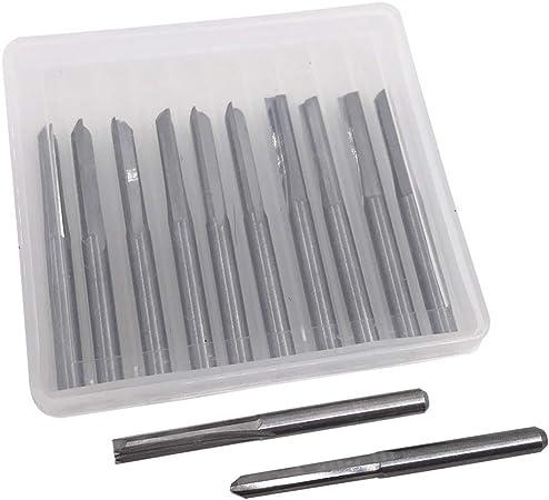 AFUNTA Lot de 12 forets droits /à double tranchant 1//8 en acier au tungst/ène 2 fl/ûtes /à fente droite OAL 38,55 mm Longueur de la fl/ûte 17 mm