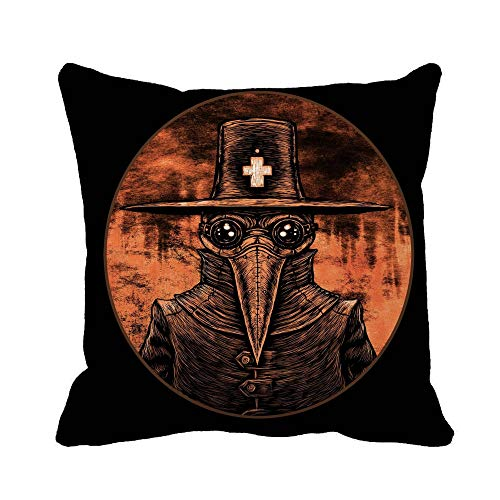 Awowee Throw Pillow Cover Bubonic Plague Doctor Graphic on Fire London Old Abstract 16x16 Inches Pillowcase Home Decorative Square Pillow Case Cushion Cover