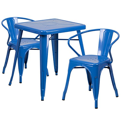 Blue 2 Piece Stack Chair (Flash Furniture 23.75'' Square Blue Metal Indoor-Outdoor Table Set with 2 Arm Chairs)