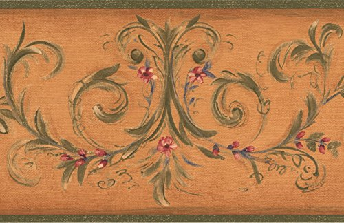 Green Floral Vine Wallpaper - Red Flowers on Green Vine Damask Orange Wallpaper Border Retro Design, Roll 15' x 7''