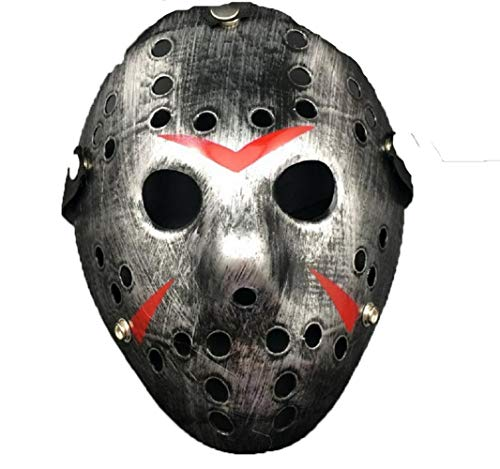 Limado Halloween White Porous Men Mask Jason Voorhees Freddy Horror Movie Hockey Scary Masks for Party Women Masquerade Costumes (Silver) -
