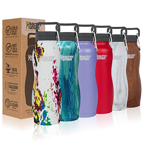 Art Deco Bottle - Healthy Human Stainless Steel Vacuum Insulated Curve Water Bottles | Keeps Cold 24 Hours, Hot 12 Hours | Double Walled Water Bottle | Carabiner and Hydro Guide | 21 oz Art Deco