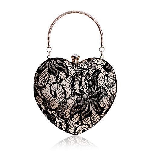 Dinner Bag Heart-Shaped Lace Tote Ladies Evening Dress Banquet Clutch Party Party Handbag Suitable for All Occasions (Color : Black) ()