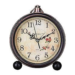 easyHome 5 Vintage Retro Old Fashioned Decorative Silent Desk Alarm Clock Non Ticking Quartz Movement Battery Operated