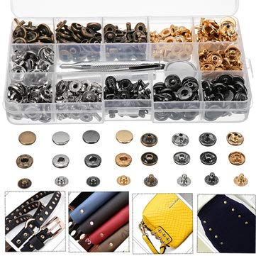 40/100 Set Rivets DIY Leather Craft Fasteners Buttons Copper Press Studs Silver Bronze Rivets With Tools - Hardware & Accessories Industrial Hardware - (#1) ()