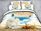 Gray Starfish Bedding Girls Bed Spread 3pcs Duvet Cover Set White Flower Bedding Set Floral Duvet Coverlet Bed Adult Bedroom Sets Twin Full/Queen King Cal King Size Beach Heart Love Shell (Cal King)