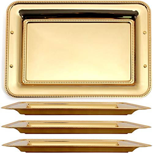 Maro Megastore (Pack of 4) 15.7-Inch x 11-Inch Rectangular Iron Gold Serving Tray Heavy and Sturdy Floral Engraved Decorative Wedding Birthday Buffet Party Dessert Food Decor Party Wine 3191 M Ts-236