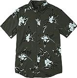 RVCA Men's Moonflower Short Sleeve Woven Button Down Shirt, Pirate Black, L