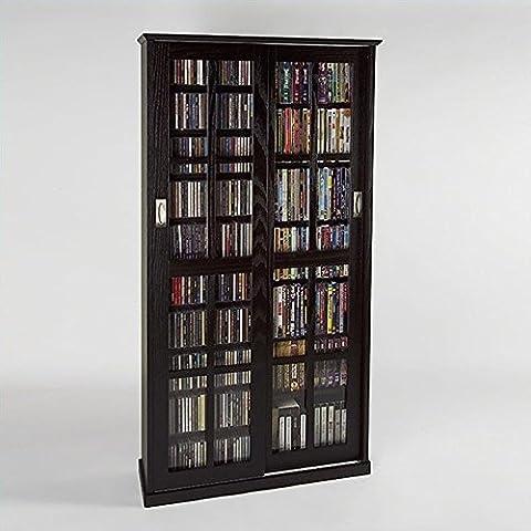 Leslie Dame MS-700ES Mission Multimedia DVD/CD Storage Cabinet with Sliding Glass Doors, Espresso (Cd Cabinet Mission)